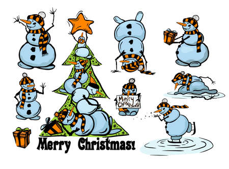 A set of cute snowmen. Vector illustration