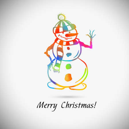 Christmas White Snowman in a Hat and Scarf Isolated on White Background, Merry Christmas and Happy New Year, Vector Illustration
