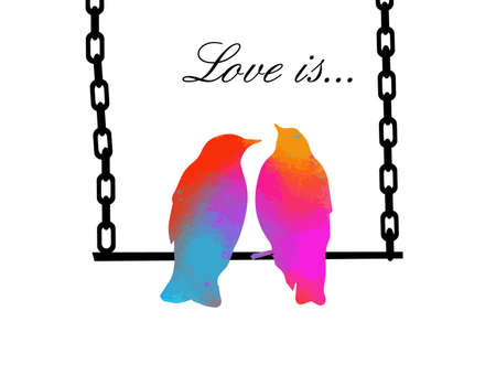 Two birds in love sit on a swing. Vector illustration Vettoriali