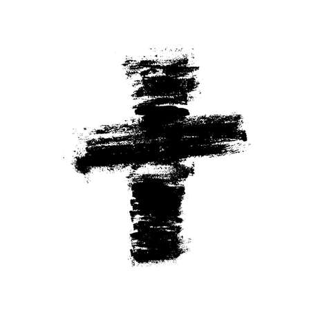Vector banner or illustration on the religious theme. Abstract black cross with splashes, drips and inscription INRI Vettoriali