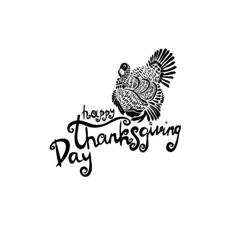 stylized turkey. Happy Thanksgiving. Vector Vettoriali