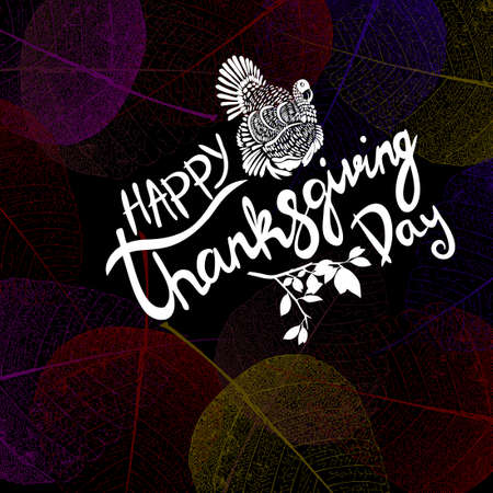 Happy Thanksgiving lettering. Vector background