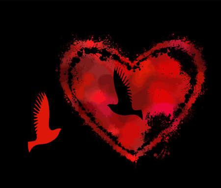 Heart made of blots. Vector