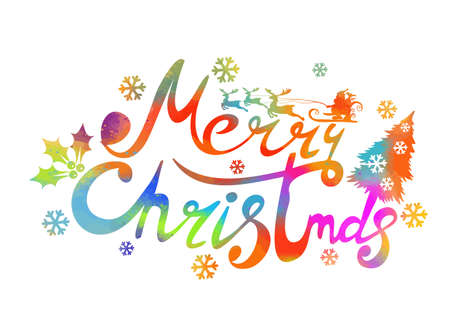 Text Merry Christmas. Vector illustration