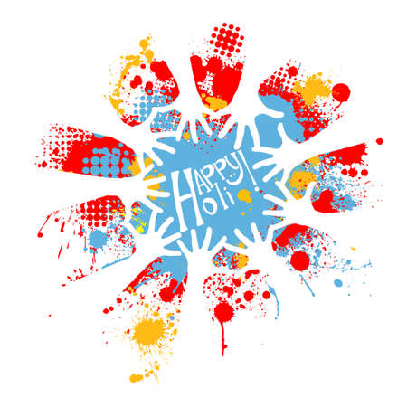 illustration of colorful hand print in Happy Holi background