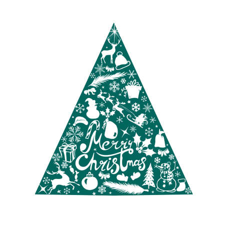 Merry Christmas. A Christmas tree made of graphic elements. Happy New Year. Vector illustration