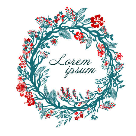 Round frame with blue and red flowers and leaves. Flower card. Vector illustration