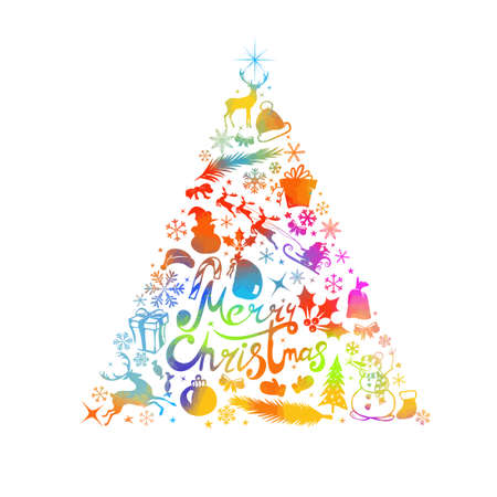 Merry Christmas. A Christmas tree made of graphic elements. Happy New Year. Mixed media. Vector illustration