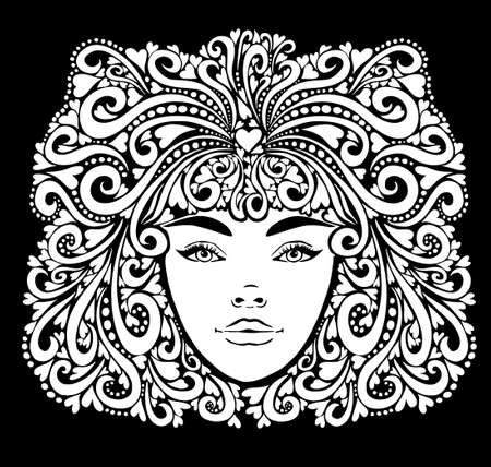The stylized face of a beautiful girl full-face. Vector illustration Vettoriali