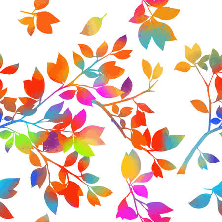 A seamless background with multicolored twigs. Vector illustration