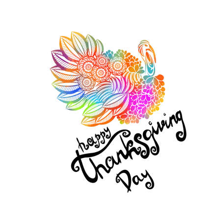 Hand drawn Happy Thanksgiving lettering typography poster. Celebration quote on textured background for postcard, icon, logo, badge. Autumn vector calligraphy text on watercolor background
