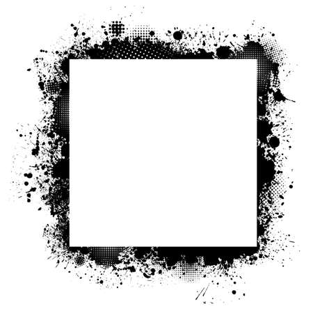 Square frame from spots of paint. Background from blots. Grunge Design Element. Brush Strokes. Vector illustration