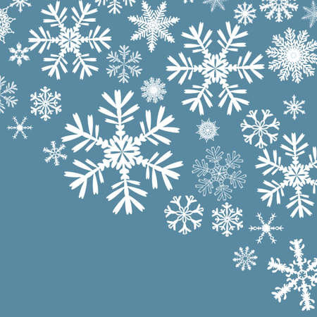 Blue background with snowflakes. Merry Christmas. Beautiful Christmas background. Vector illustration Vettoriali