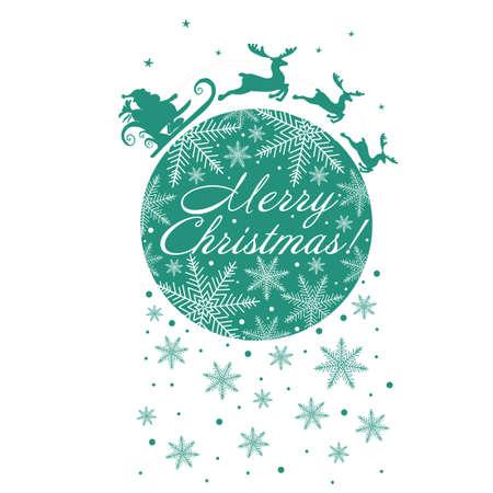 Santa Claus rides reindeer. Merry Christmas. Festive postcard. Vector illustration
