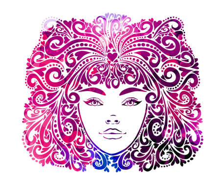 The stylized face of a beautiful girl full-face. Girl With Purple Hair. T-shirt printing. Mixed media. Vector illustration