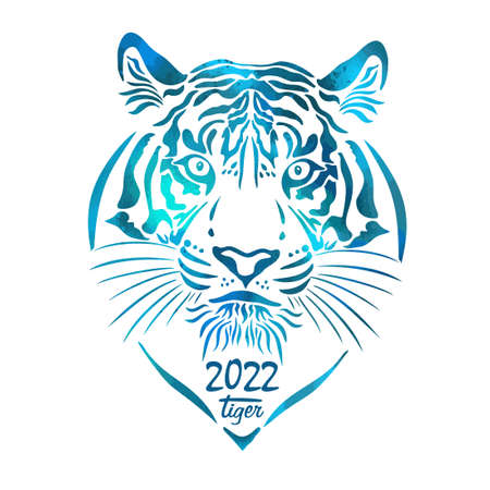 Year of the water tiger. 2022 year. Vector illustration Vektorové ilustrace