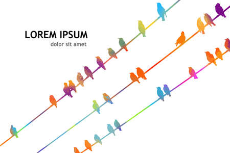 Multicolored Birds on wires. Vector illustration Ilustrace