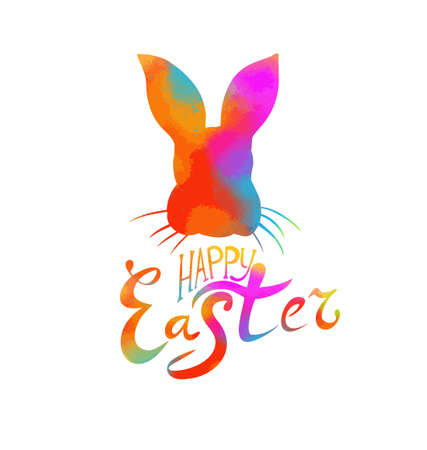 Happy Easter text. Multi-colored postcard with rabbit. Mixed media. Vector illustration