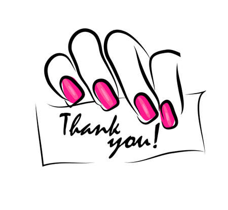 Womans hand holds a sign. Thank you. Vector illustration