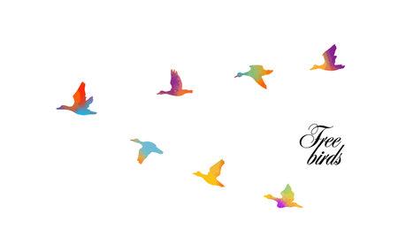 ducks fly South, vector illustration Ilustração