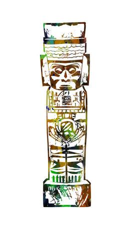 Ancient Mayan figurine. Vector illustration