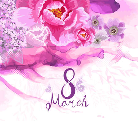 March 8. Womens Day. Postcard. Vector illustration