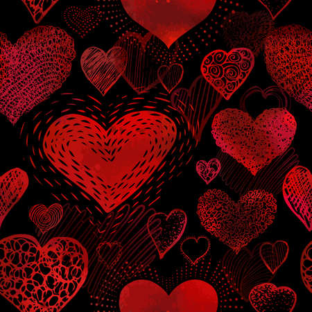 The seamless background of the red heart. Vector illustration