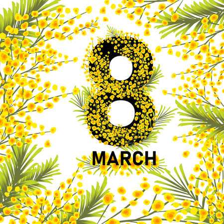Postcard March 8. Mimosa branches. Vector illustration