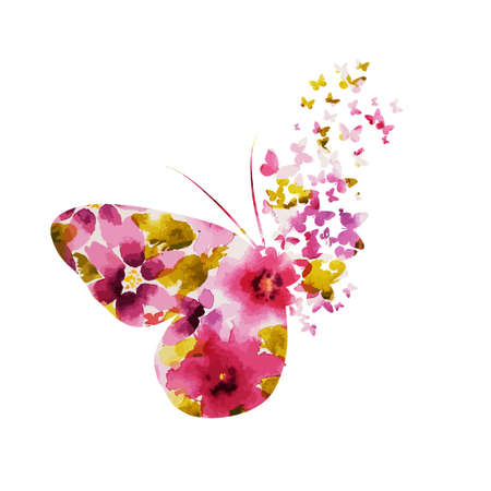Abstract multicolored butterfly. Mixed media. Butterfly made of flowers. Vector illustration