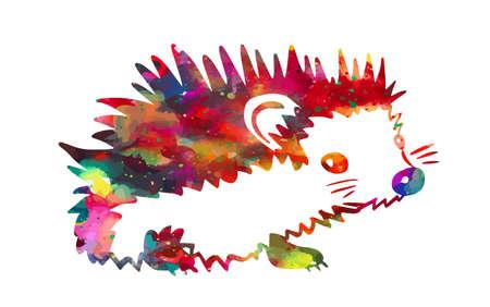 A multicolored abstract hedgehog. T-shirt print. Mixed media. Vector illustration