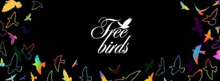 A flock of flying birds. Horizontal frame of colorful birds. Mixed media. Vector illustration 向量圖像