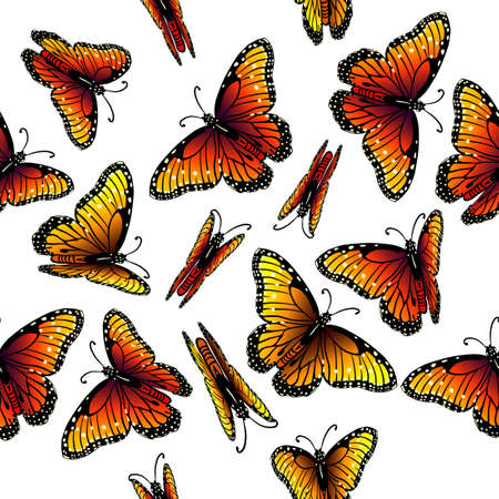 A seamless background with orange butterflies. Vector illustration