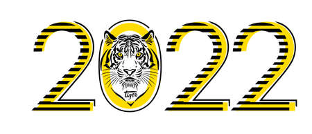 Year 2022. The Year of the Tiger. Vector illustration