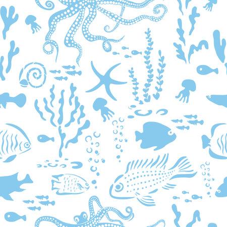 Marine animals blue seamless pattern. Vector illustration