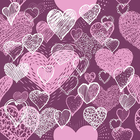 The seamless background of the pink heart. Vector illustration