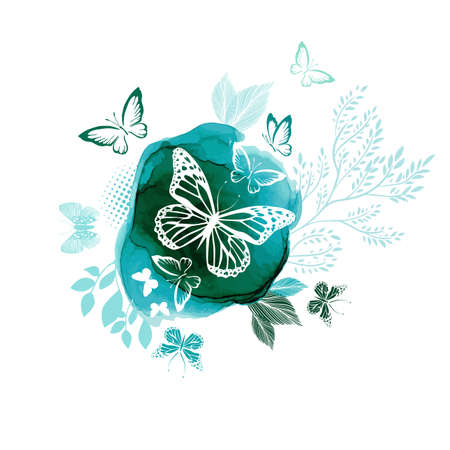 White butterflies on a watercolor green background. Vector illustration 向量圖像