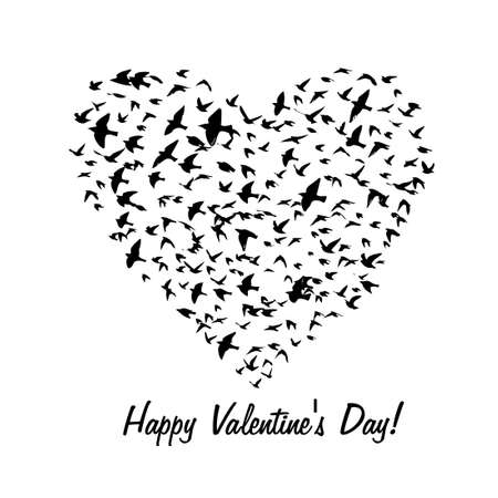 The heart of the birds. T-shirt print. Happy Valentines Day. Vector illustration