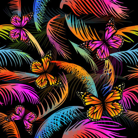 multicolored palm leaves with butterflies. Seamless background. Vector illustration