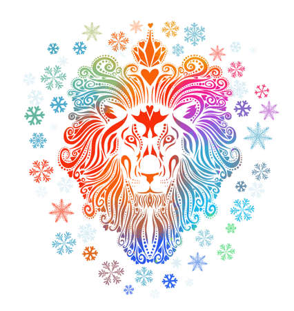 A multicolored lion. The face of the lion is a rainbow abstract. Christmas. Multi-colored snowflakes. Vector illustration