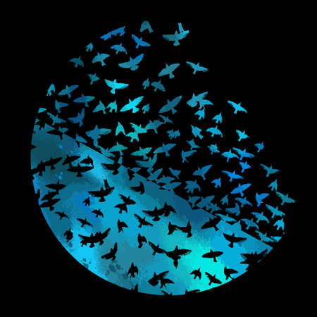 Bird watercolor. A flock of colorful birds. Mixed media. Abstraction in a circle of a bird. Vector illustration 向量圖像