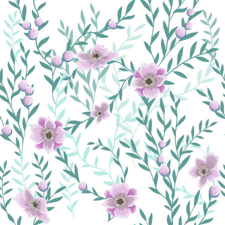 The seamless background of the sprig with pink flowers. Vector illustration 向量圖像