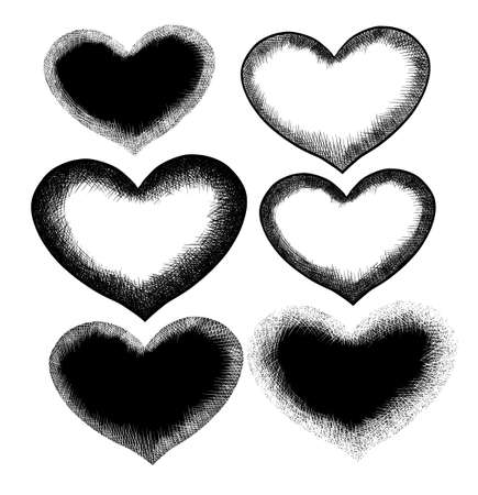 Set of graphic hearts hatching. Vector illustration