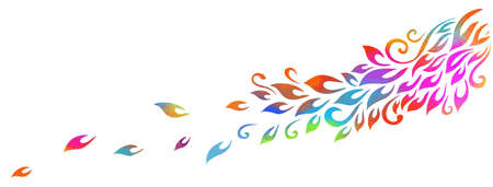 Horizontal background. Abstraction with multicolored falling leaves. Vector illustration