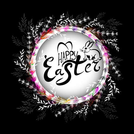 Happy Easter text. Easter card. Vector illustration