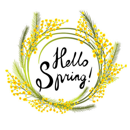Postcard March 8. Mimosa branches. Hello Spring. Vector illustration