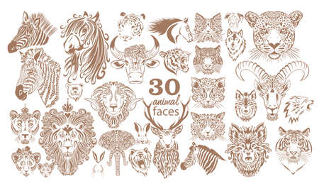 Set of animal faces. Graphic muzzles of animals. Vector illustration 向量圖像