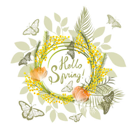 Postcard March 8. Mimosa branches with butterflies . Hello Spring. Vector illustration