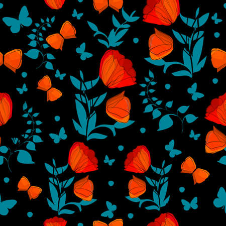 A seamless background with red and blue flowers and leaves. Print with poppies and butterflies. Vector illustration 向量圖像