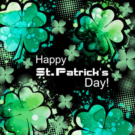 Postcard Happy St. Patricks Day. Vector illustration