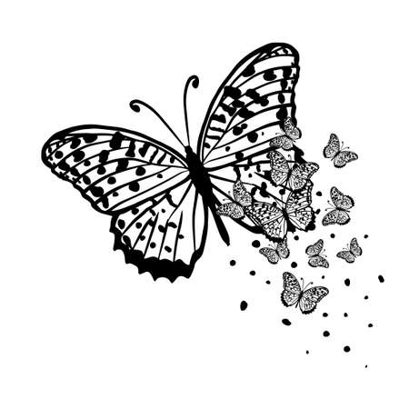 Butterfly decorative tattoo. Black Butterfly from patterns. Vector illustration 向量圖像